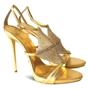 NEW Mekong Gold Diamond Mesh Open Toe Sandals